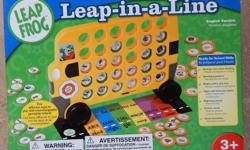 LEAP FROG Leap-in-a-Line Game for 2 - 4 players. Ages 3+yrs. Five fun ways to play with School Bus game board and 106 interchangeable gameplay tokens. Tokens feature Shapes, Size, Colour, Upper and Lower Case Letters and Beginning Letter Sounds. New -