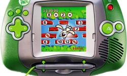 Leap Frog Leapster Learning Game System Color is green with a silver screen. Game plays fine; it does not have scratches on the screen Requires 4 AA batteries (not included) It is like-new and barely used Very clean Works Perfect! Excellent condition from