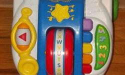 This little Leap Frog learning band walker is a lot of fun for little ones!   There are two modes to this toy. The first is a learning mode. It teaches your child numbers 1-5 and the alphabet. The second mode is a music mode. It will play 3 different