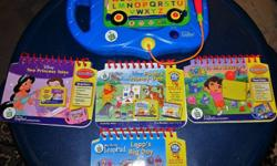 Its in great condition. Comes with 4 LeapFrog Educational Books: 1. Disney Two Princess Tales 2. Dora To the Rescue 3. Pooh's Honey Tree 4. Leaps Big Day Great for toddlers!! Email me or call me if interested. Pick up only. Thanks for looking. Please
