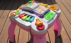 Move, sing, dance and drum 15 activities and more than 40 songs keep children learning and grooving, while a variety of play instruments encourage baby to push, pull, press, slide, open and close, helping develop fine motor skills Attachable legs take