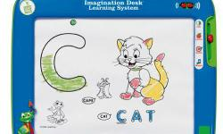 Product Description Great LeapFrog innovation that lets children play and learn at the same time The Imagination Desk Learning System teaches kids letters, numbers, phonics, counting, and vocabulary on a lively multimedia desk. As a child colors in the
