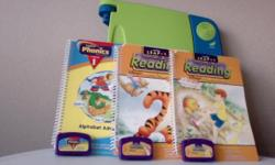 Ages: 4+ Teaches reading, phonics, vocabulary, geography, science, math, foreign languages, etc. Included interactive books * Collection from LeapPad Library ? came with the LeapPad * Phonics - Alphabet Adventures * Leap 1 - Reading: Pooh Gets Stuck (Ages