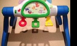 This is a great toy for infants all the way to toddler (18months). It grows with your child. Infant can lie underneath and kick the levers and watch the screen of black and white. Next baby can sit and play then toddler can stand. Choose from 4 learning