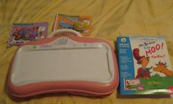 Great gift for a little girl ages 6 months to 5 years.  The Leap Pad is pink and also includes three books; Mr Brown can Moo; The Little Engine That Could and One Bear in the Bedroom. Has a carrying handle and pad so child can use on their lap. This Leap