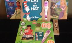 Help your child read. Child points the wand to the word and it will read it out! awesome educational toy. comes with three books (as shown in pic) still in original box. Cat in the hat book has a tear on one page. However, does not affect anything. $20.00