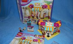 Lego Friends Downtown Bakery, with box and instructions fully assembled