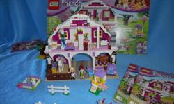 Lego Friends Sunshine Ranch fully assembled all pieces, with instructions and front of box picture