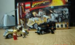 Lego Indiana Jones: Shanghai Chase #7682. 244 pieces. Sadley it is missing Indiana Jones.It comes Pre-Assembled but I can take it apart if you so wish. I got it as a gift and put it together once. Orignal price:$40-$45