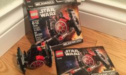 This is a genuine LEGO Star Wars set #75194. Called the First Order TIE Fighter Microfighter. This LEGO set has been prebuilt to confirm all 91 pieces, including one mini figure. Includes the original packaging and instruction manual. In brand new
