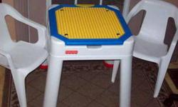 These items are available: Pic. #1. - Lego Table, flip top, turns into an easel as well, compatible with Mega Bloks Blocks, table top flips to build with Lego or Mega Bloks Blocks, or for flat table top for drawing, coloring, etc... has storage for art