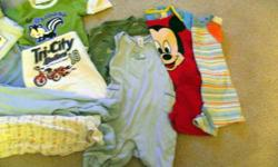 Barely worn, Like NEW Baby Boy onesies and sleepers!!! 9 onesises from Childrens Place - Ecko - Disney etc. Sleepers from Joe, Timberland, Vitamin C Baby Gap overalls Seriously most maybe worn once!!!
