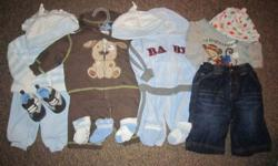 4 very sweet baby boy outfits size 0-3 months, very gently used, only worn on one little boy, excellent condition, pet free/smoke free home Asking $25 If interested please contact by phone or email  890-8450