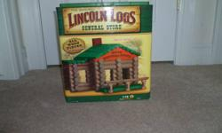 """Lincoln Logs """"General Store"""" 115 pieces.  Ages 3 and up.  Comes from smoke and pet free home.  Paid 40.00 a couple of years ago and son has hardly played with it."""