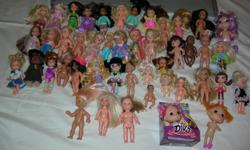For sale a Lot of 46 small Dolls Mix Lot of Dolls, Measures: from 2 inch to 4.5 - 5 inches Please see all the photos, This Lot will be SOLD as seen in the photos, Price for all $ 25