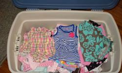 Bin of spring and summer outfits,dresses and sleepers, sizes 3 months up to 24 months.Like brand new some still have tags.Brands Carters,Oshkosh,H&M,and Ralph Lauren.