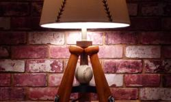 LITTLE LEAGUE BASEBALL LAMP with BONUS BASEBALL NIGHTLIGHT! NEW CONDITION $65 for the pair The baseball in front of the Bat lamp is a nightlight. You get a great Baseball Bat lamp for beside their bed, and a Baseball nightlight to keep them secure through
