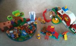 30 little people and animals with three play systems. A barn, playground and a zoo or jungle mat. Mat makes the animal sounds or the letter sound that the animal starts with. All sounds work great on the barn, slide and mat. My kids loved it. This ad was