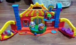 Little people circus with five animals and a musical train for the animals to ride in. Perfect for ages 1-5 years old.