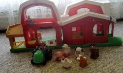 Farm (left side) -Little People Animal Sounds Farm with touch and feel animals helps toddlers discover real animals through touch and sound. Pop up surprise when the chicken is pushed along the hayloft and peek-a-boo doors on the side of the barn. Animal