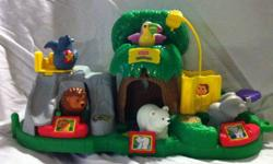 All animal areas make animal sounds. Comes with all animals, zoo keepers, truck...