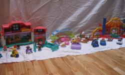 Lots of Little People, Circus set, House set, Camping set, Farm animals and more!  Great condition, everything still makes sounds and works. A perfect Christmas gift!