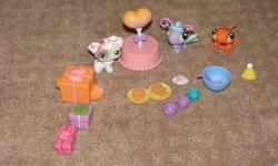 24 Packages of Little Pet Shops prices vary from 2.50-5.00 depending on sets if you buy more than one I will give you a deal.  I have four big sets 5.50 ( Birthday Set (Happy Birthday Table, 3 pets and accessories), Fashion Show set (3 pets, camera, and