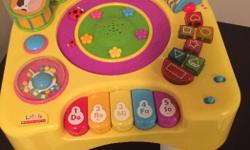 This table comes with removable legs so that babies who dont stand yet can also play.it has tons of activities like, shapes, numbers, piano, rhymes, rattle, drum, animal sounds and much more.it is great condition and comes from smoke and pet free home.