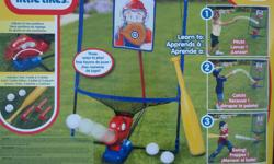 Little Tikes adjustible 3-in-1 Baseball Trainer toy. Ages 3+. Clean and in excellent condition. All pieces included: bat, three balls, three stakes, bat catcher net (poles & mesh), and pitch machine. Takes four D batteries. Smoke free home. No delivery;