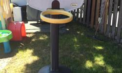 This little tikes hoop is more for ages 3+. It stands taller than the toddler ones. It is adjustable in height.