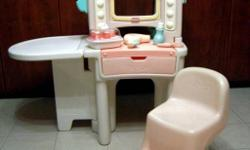 """Endless fun with this cute beauty salon.  Everything from sink with tap and pull out sprayer, blow dryer, """"hot"""" rollers, telephone, scissors, shampoo bottle. One side of the vanity has a sink and the other side of the salon has a mirror. The extended"""