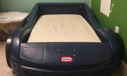 The little dude's got a bottom bunk now. Time for the Car Bed to cruise off to a new home. $60 obo. Frame is in great shape. The Mattress is foam and is still comfortable but has some tears in the plastic. The mattress is Crib size so will fit crib