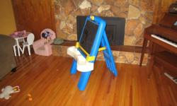 Little tikes chalkboard/easel well loved, but still in good condition. Clip for paper works well, storage tray attached. Folds flat and tray comes off for easier storage. $10