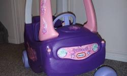 The Cozy Coupe riding toy is a whimsical princess style for ages 1 1/2 to 5 years old. Little girls will love the colors and decals. This ride on toy uses the foot-to-floor format so it is easier to maneuver. Features: Designed with a high seat back