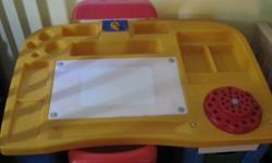 plastic little tikes desk and chair with 2 draws, working desk lamp and light up tracing surface.