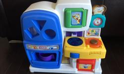 Good condition, all features & sounds work. The three little food items are missing.