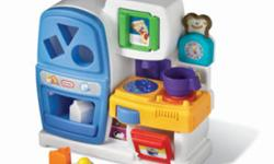 $34.99 US + shipping and taxes at littletikes.com   This fun play kitchen is an ideal baby toy and toddler toy.   Lights, sounds, colors and shapes will captivate your little one.   We?ve designed this toy kitchen to help develop visual perception, fine