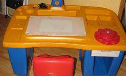 A great desk for your child ages 2-5   The desk has compartments for everything from markers, crayons, stamps and coloring books!   The desk has a lamp that works from the top and the bottom