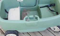 Two seats with seat belts and cup holders for 2 cups one of the seats lift for storage in great condition just needs to be washed from being outside no holds