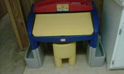 selling this yellow and blue table and chair for only 25 $ it is in good condition for ages 1 to 5. pet and smoke free home plzz view my other adds too