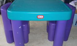 """Little Tikes Table with Drawers and Chairs,great shape,table with 2 drawers and 2 chairs,table top 26"""" by 26"""",table 20"""" high,chair seat 11"""" high,pink,green,purple in color"""