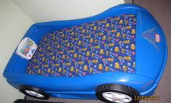 car bed with decals  can be cleaned off if you dont want them on with a heavy duty cleaner. Matteres is 9 months old. fisher price aquarium attatched can be removed with screws. From a non smoking home