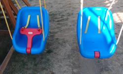 Little Tikes 2 in 1 Swing suitable for 9 to 48 months... Weight limit 50 lbs Adjustable T-bar with straps to hold them in then when they are old enough to hold on the straps secure underneath the seat out of the way...