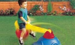 The Little Tikes Whirly Bounce Rider is three activities in one with bouncing action of the durable, inflatable ball, teeter-totter thrills for one child on the pivoting arm and merry-go-round fun with rider-controlled rotation. The base is weighted with