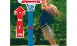 Here?s one of Little Tikes' sports toys that?s great for growing toddlers. This terrific basketball set adjusts to six heights from 2 1/2 to 4 feet. An oversize rim and a junior size basketball ensure that baskets are easier to make, encouraging more