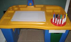 Little Tykes desk that lights up to trace and /or draw in great condition only gently used. This is electric, no batteries required Hold 2 packs of markers and a pack of crayons, 2 drawers for paper and other craft supplies Both lamp and under-lit lamp