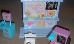 In brand new condition, Littlest pet shop care center to take care of your sick pets. All the pieces are included. 2 small pet shops are included a sick cat and a dog with broken hand. I opened the box just for the picture, so it's in mint condition.