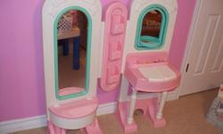 Pink Little Tykes Dual Vanity with bench   please check out my other items