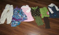 Lot of 6-9 month girl clothes    1 baby Pooh overalls 1 Childplace dress 1 zellers winter dress 2 carter shirt and pants outfit 1 winter please mum dress 6sleepers 2 short sleeve undershirts 2 long sleeve undershirts