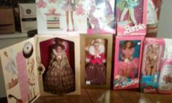 Barbies for Sale ,All mint in box ,Great for gifts or collectors or Flea Market   There the following that are mint in box NR   2005 Macklie Holiday Doll ( Fushia Dress) MINT NR                       2003 Happy Holiday ( Bad Box) Mint NR